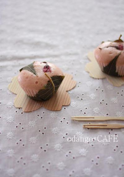 米粉でもっちり♪桜もち風蒸しパン