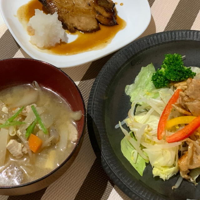 和食晩ごはんが続いています・・豚汁やぶりの照り焼き