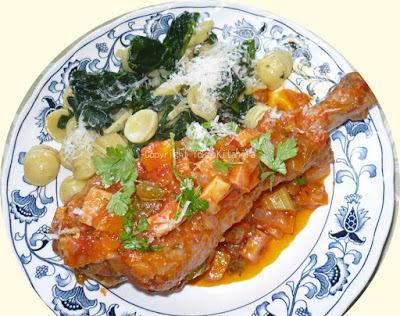 おもてなしレシピ~ターキーレッグ、ベネツィア風ソース、オレキエッテとほうれん草炒め添え R#075