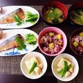 黒米つかったさつま芋ごはん☆いたや貝と焼き豆腐の旨煮♪~♪