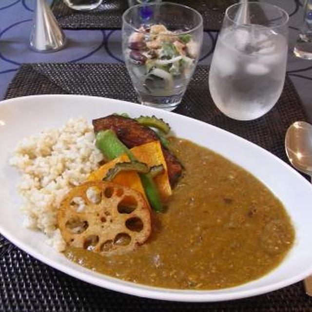 和風夏野菜カレー & ゴーヤとツナのわさびマヨサラダ☆ (にんにく、しょうが、わさび)