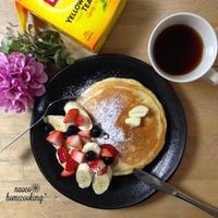 春*苺&フルーツのヨーグルト豆乳ホットケーキ♪ 「ひらめき朝食」レシピモニター