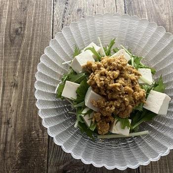豆腐の肉味噌サラダ
