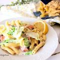 コロナ対策の運動会、朝昼兼ごはん*白菜とほぐし鮭のレモンクリームパスタ