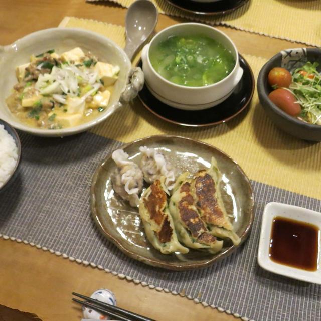 白麻婆豆腐&餃子の晩ご飯 と よくでる『おばけキュウリ』♪