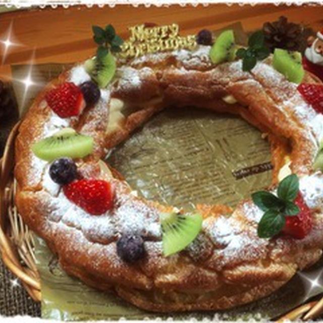 全部ホットケーキミックス、です!! ~クリスマスリースのシュー♥~