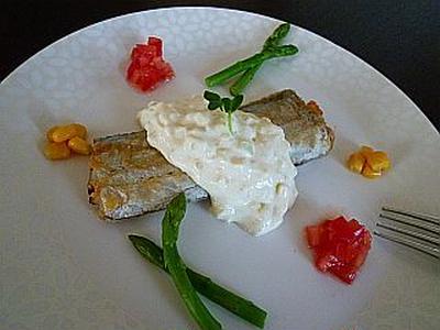 太刀魚のポワレ~豆腐クリームチーズソース~