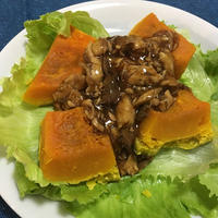 【鰤】GABANナツメグを使った「蒸しかぼちゃの鰤そぼろ餡かけ」