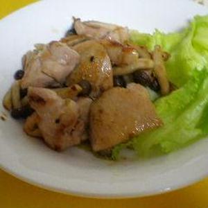 鶏肉とシメジのゆず胡椒炒め