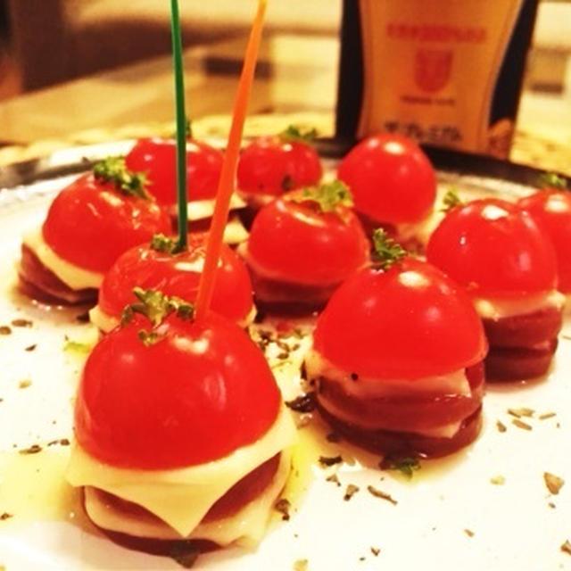 ビバ!モルツ!おつまみ焼きトマトチーズサラミ