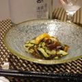 ホヤと木耳の中華和え、鮎の柚子塩麹付け焼き、すくい豆腐の酒盗みオクラがけ、エノキとほうれん草