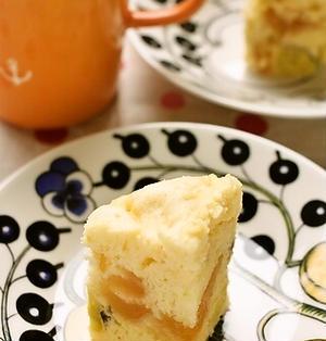 さつまいもとりんごのレンジ蒸しケーキ