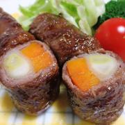 ねぎとにんじんの牛肉巻き<山椒照り焼き>
