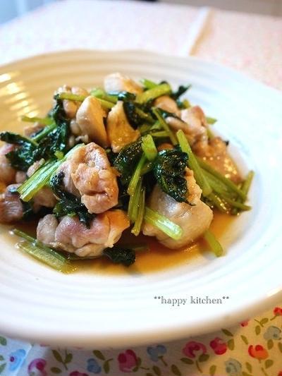 鶏肉と小松菜の柚子胡椒照り焼き