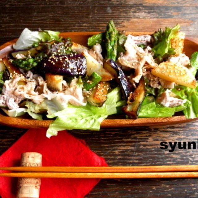 【簡単!!カフェサラダ】豚しゃぶと揚げ茄子、長いも、アスパラのゆずこしょうサラダ*のち丼
