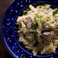 塩糀漬け豚肉とキャベツのパスタ