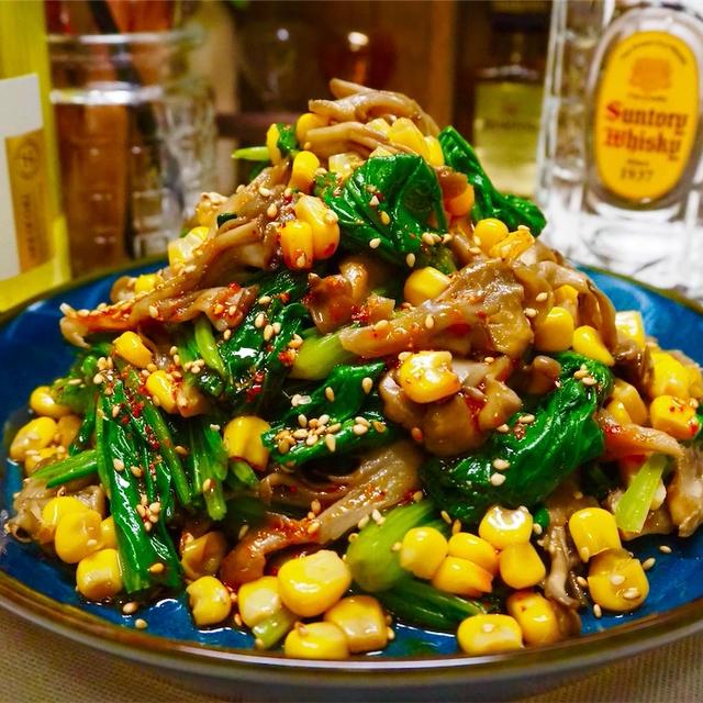【レシピ】コーンが美味しい♬ほうれん草と舞茸のナムル♬