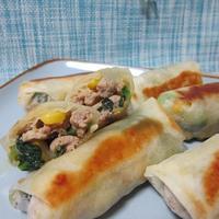 小松菜とコーンのバター醤油春巻き