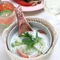 白菜とウィンナーソーセージのミルクスープ