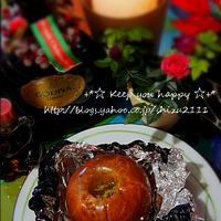 +*黒ホイルで簡単大人焼きリンゴ+*
