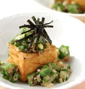 【9月の旬野菜レシピ】もう1品欲しいときに♪焼き厚揚げのとろろオクラかけ