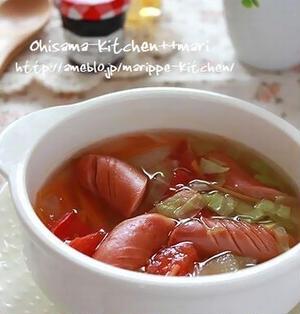 レンジで3分☆野菜たっぷりコンソメスープ♪