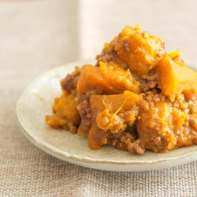 肉そぼろとかぼちゃの煮物