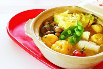【姫ごはん☆美脚レシピ】揚げ餅の和風カレー鍋☆