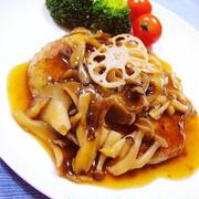 和風きのこあん♡蓮根入り鶏肉ハンバーグ // COOKPAD「健康レシピ」ページにも掲載中