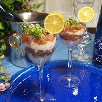簡単!まぐろと長芋のグラスタルタル  「澪と楽しむパーティーレシピ」