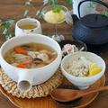 鶏団子スープとなんちゃって松茸ごはん