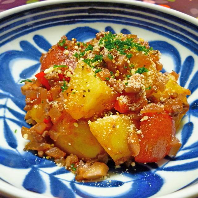 ひき肉と茸で美味しいジャガイモ
