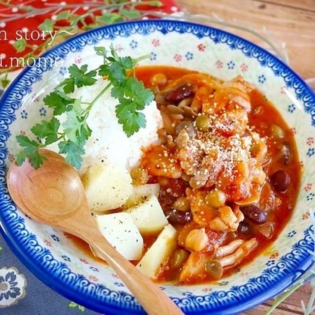 トマト缶で簡単♪チキンとミックスビーンズのトマト煮込みライス