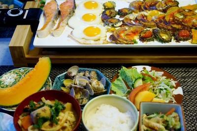 ■続・おもてなし朝ご飯【【ワンプレート焼き物/浅利の酒蒸し他】