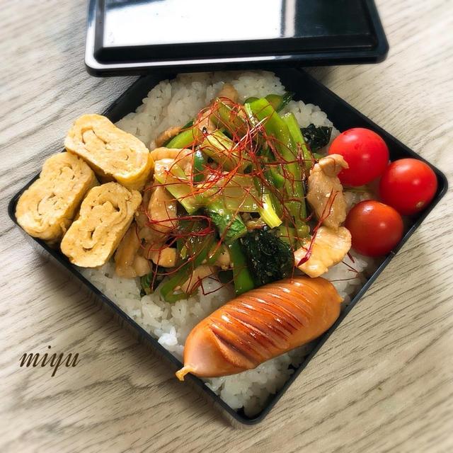 豚ロースと小松菜のピリ辛炒めのお弁当