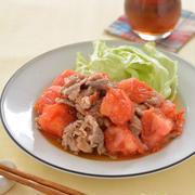 豚トマトのしょうが焼き。トマトとくずし豆腐のサラダ。【今が旬!栃木トマトは加熱にも最適】