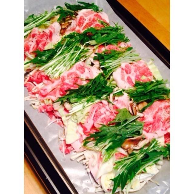 豚肉と野菜のはさみ蒸し