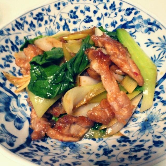 豚 青梗菜 葱 オイスターソース