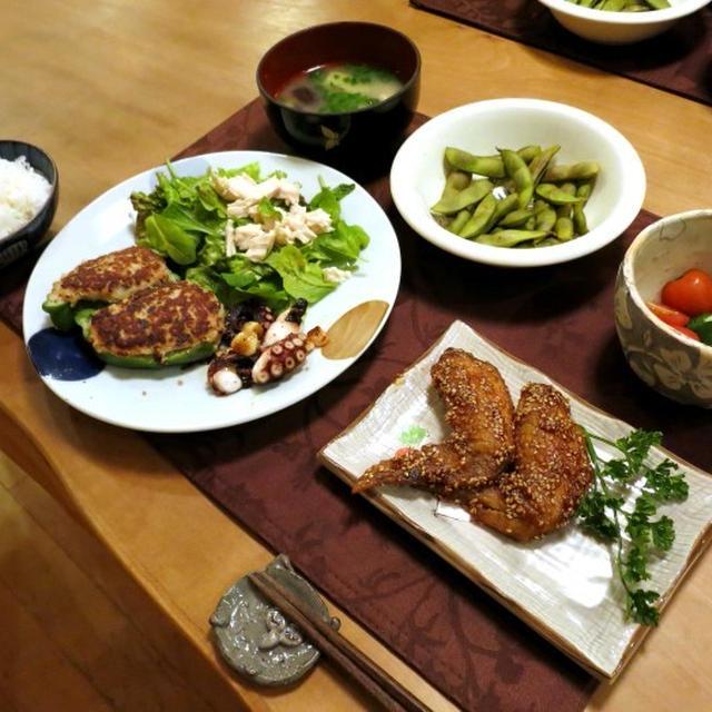 メガピーマンの肉詰めの晩ご飯 と 西洋リョウブ:ピンクスパイアーの花♪