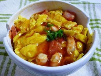 海老とトマトの卵あんかけ丼&なすのポン酢醤油がけ!