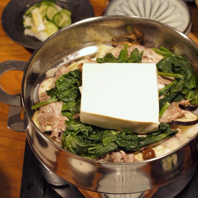 お豆腐ドンとのせ、ミルフィーユ蒸し鍋のよるごはん