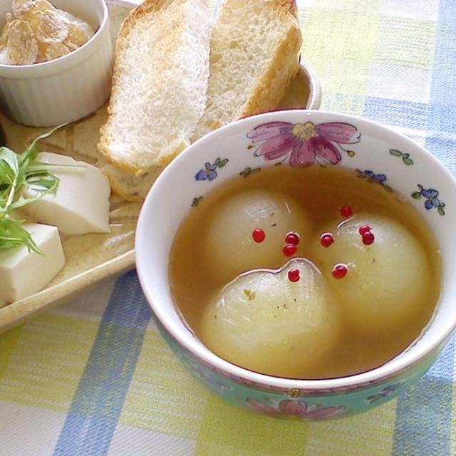 朝ごはん!あま~い新玉葱スープ