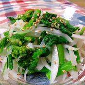 菜の花と新たまねぎの塩麹しょうがナムル