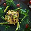 マスカルたらこクリームの アスパラとお豆のマカロニサラダ   オマケはキャサリンたち by 青山 金魚さん