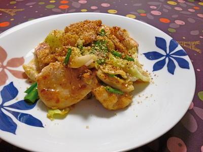 鶏むね肉とキャベツの胡麻味噌炒め