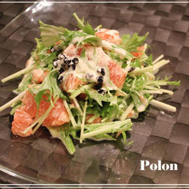 グレープフルーツと水菜のサラダ~ワイルドブルーベリーを使って