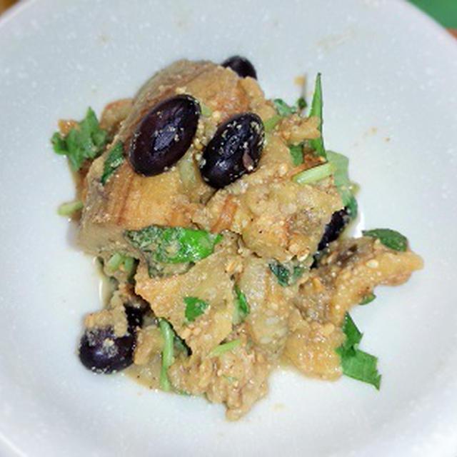 焼きナスと黒豆の胡麻和え