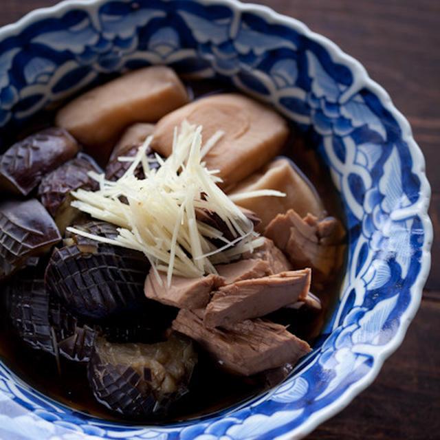 ナスとなまり節と丁子麩の煮物 + 冷たい麺