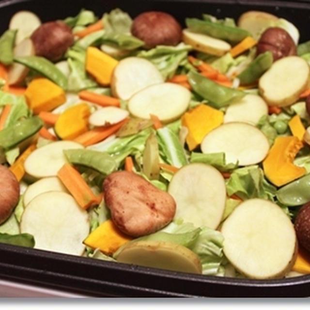 ホットプレートで、豚肉とじゃがいも、春野菜のごちそう蒸し焼き♪