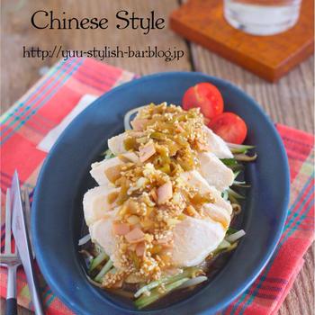 【レシピブログ連載】火を使わずにラックラク♩やみつき♩『野菜たっぷり♡蒸し鶏の中華だれがけ』